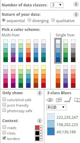 Colorbrewer palettes