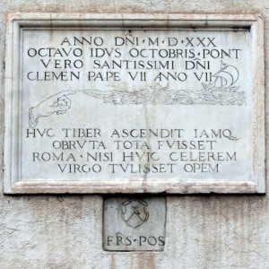 High water mark of 1530 flood of Tiber at Rome.